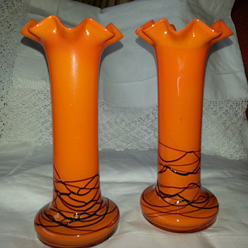 Bohemian Tango Glass Vases  - Art Glass