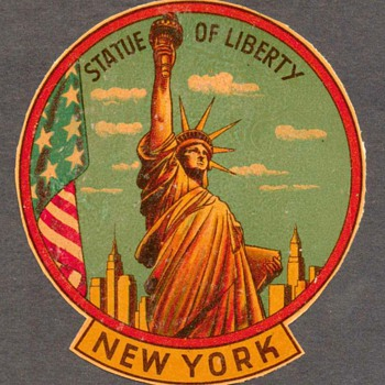 "1950's - Travel Decal ""Statue of Liberty - New York"" - Paper"