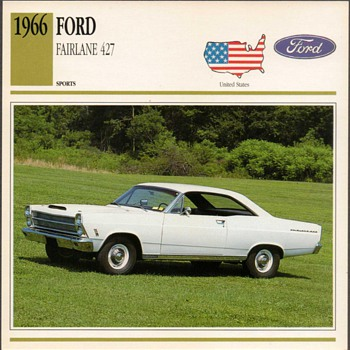 Vintage Car Card - Ford Fairlane - Classic Cars
