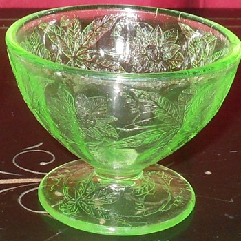 Green Depression Glass Sherbert Cups  By Jeanette - Glassware