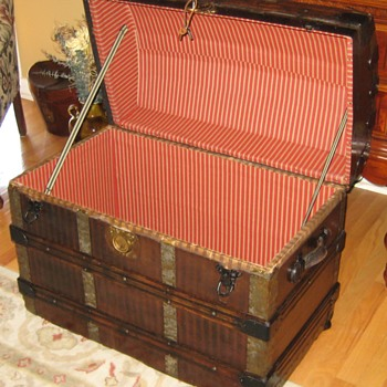 Striped Canvas Covered Trunk Interior - Furniture
