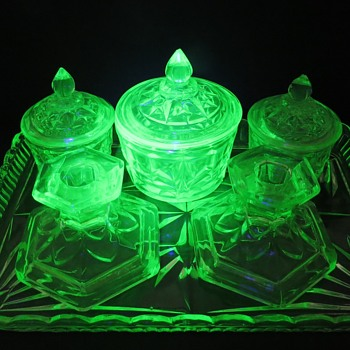 Uranium Glass Trinket Set - Glassware