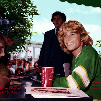 Andy Gibb, Photographed for Polydor Records, b&w, Hand Coloured Photo - Photographs