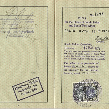 1939 German J stamped passport for South Africa - Paper