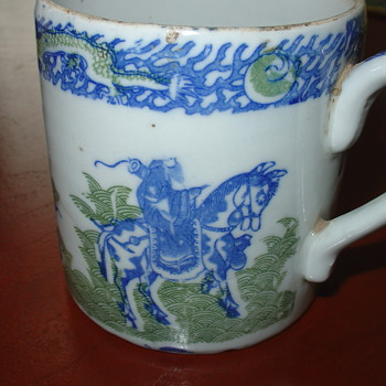 Antique Chinese Mug in Blue and Green