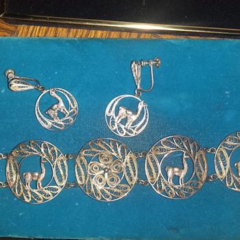 Peruvian Filigree Bracelet and earings