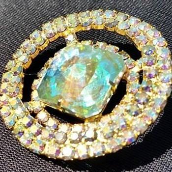 Juliana D&E Rivoli Pin and Matching Earrings - Costume Jewelry