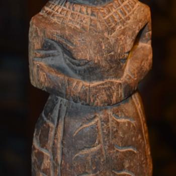 Carved Female Figure - Hindi?  Pakistani? Tibetan? - Folk Art