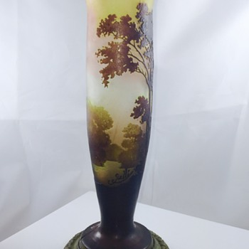 Nouveau Emile Galle Scenery Cameo Metal Mounted Vase  - Art Glass