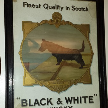 Vintage BLACK and WHITE WHISKEY SIGN. Very old, drom England - Signs