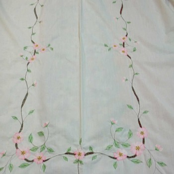 """51"""" x 80"""" VINTAGE IVORY TABLECLOTH WITH PINK APPLE BLOSSOM EMBROIDERY"""