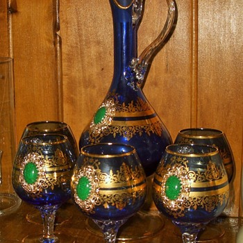 bohemian? French? Italian Glass Blue Cobalt with Gold adornments Pitcher goblets - Art Glass