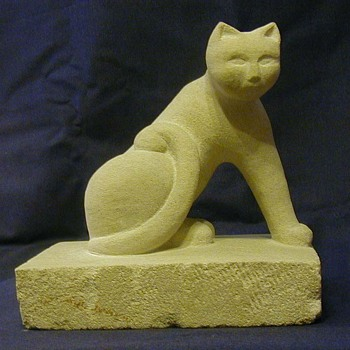 Stone cat sculpture - Fine Art
