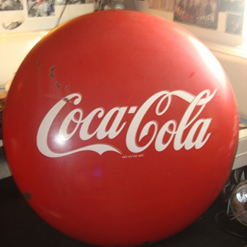 1940s 48in. porcelian Coca-Cola Button sign - Coca-Cola