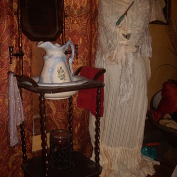 Antique Wash Stand and Wedding Dress - Womens Clothing