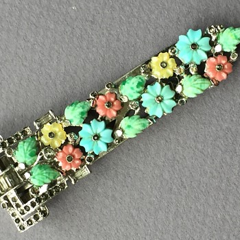 Art Deco Fruit Salad Long Dress Clip - Costume Jewelry