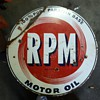 My original double sided RPM Motor Oil sign