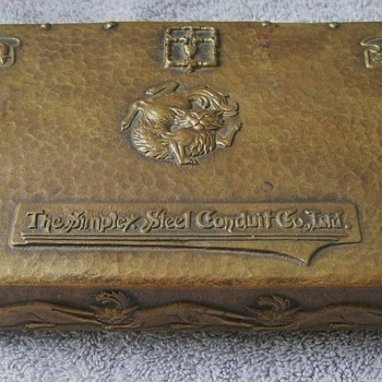 Amazing Arts & Crafts Art Nouveau Hand Hammered Brass Box/Humidor Featuring Cats & Mice! - Arts and Crafts