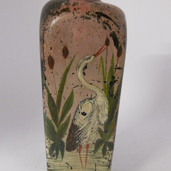 Great Blue Heron Painted on a 4 Shoulder Bottle - Bottles