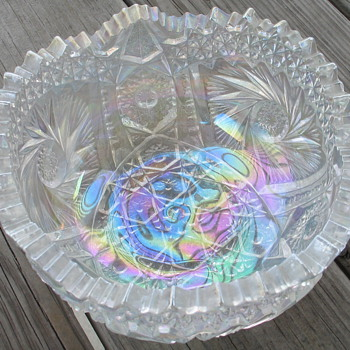 Cut Glass Iridescent Bowl - Glassware