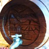 Hand carved keg?  Maybe Sake?  Asian for sure!