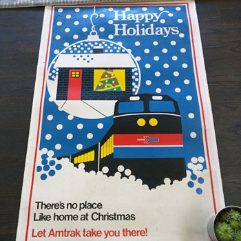 Amtrak Holiday Poster Advertisement Home for Christmas Vintage - Advertising