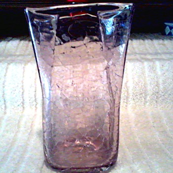 Blenko Handcraft Amethyst Crackle Paper Bag Vase /Original Clear Label / Circa 2003 - Art Glass