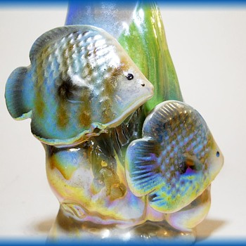 Lusterware Small Vase with 2 Fish  - Pottery
