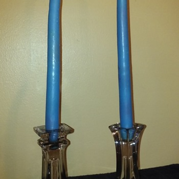 two clear glass candlesticks - Glassware