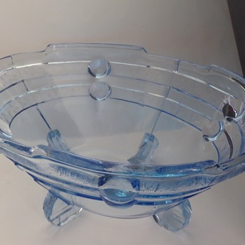 Art Deco Hermanova Hut Pressed Blue Glass Bowl - Art Deco