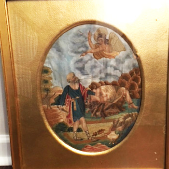 """Early 19th century embroidered sampler """"Abraham and the Sacrifice of Isaac"""" - Folk Art"""