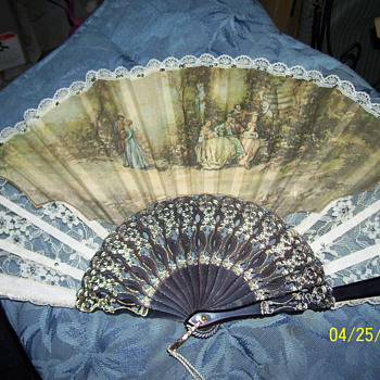 victorian sighed folding fan  - Accessories