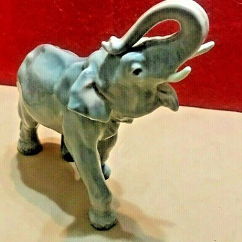 Dahl-Jensen Porcelainfabrik (Denmark) Porcelain Elephant Figurine (#1113) - Design by Jens Peter Dahl-Jensen (1874-1960) - Figurines