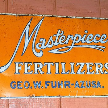 Masterpiece Fertilizers Vintage Tin Sign Azusa California Circa 1920s - Signs