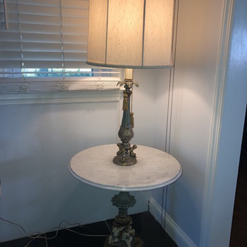 End table marble top and metal! - Lamps