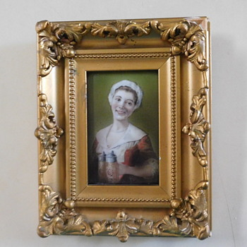 German or Bavarian PORCELAIN PLAQUE of Smiling Bar Maid w/ Steins