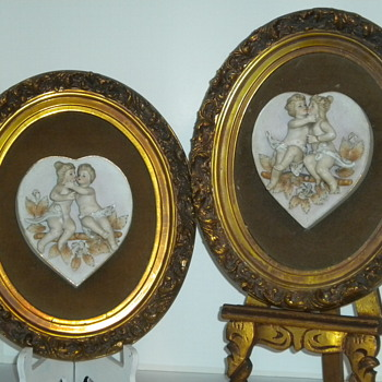Pair Of Oval Bisque Wall Hangings - Victorian Era