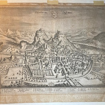 1640 Print of the Town of Sion, Switzerland - Paper