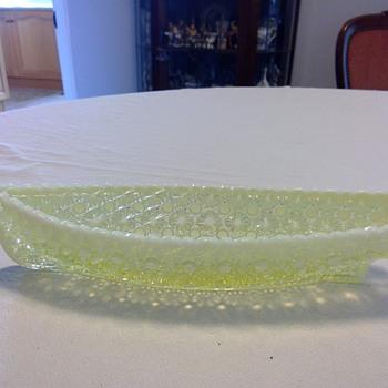"""Victorian E. Bolton Vaseline Opalescent Pressed Glass - """"Grace Darling"""" - Glassware"""
