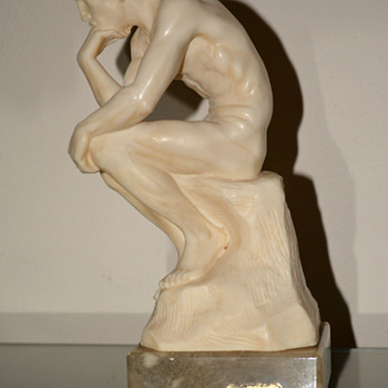 "Male Nude Alabaster Sculpture - ""The Thinker""  - Fine Art"