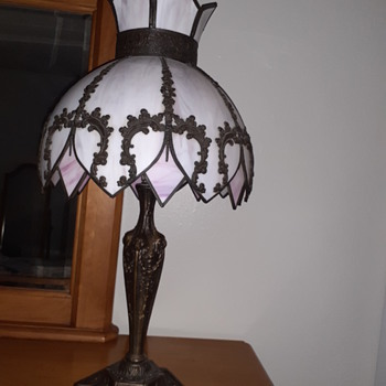 Please help identify the maker of this  slag glass lamp - Lamps