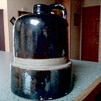 A Big Brown Stoneware Jug / Interesting Shape / Unknown Maker and Age - Pottery