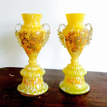 Welz Enamelled Yellow Spatter Pair Trophy Vases - Art Glass