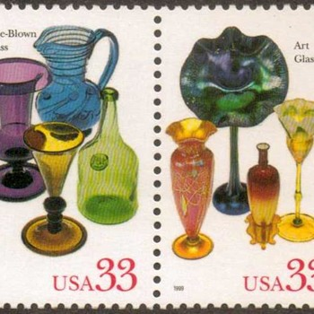 "1999 - ""American Glass"" Postage Stamps (US) - Stamps"