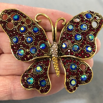 Butterfly brooch with CX logo initials (who is CX?) - Costume Jewelry