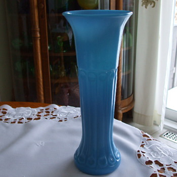 Tall VICTORIAN Peacock Feather BLUE OPALINE Flower Vase-French? - Art Glass