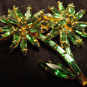 Unsigned Flower Brooch-fish symbol on back - Costume Jewelry