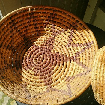 Coiled Basket With Five Point Star - Native American