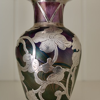 Iridescent Silver Overlay Art Nouveau Glass Vase  - Art Glass