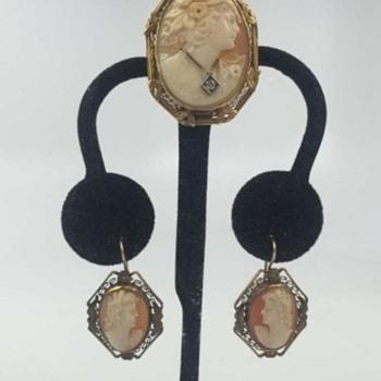 14k Cameo Brooch w Diamond & Matching Earrings - Fine Jewelry